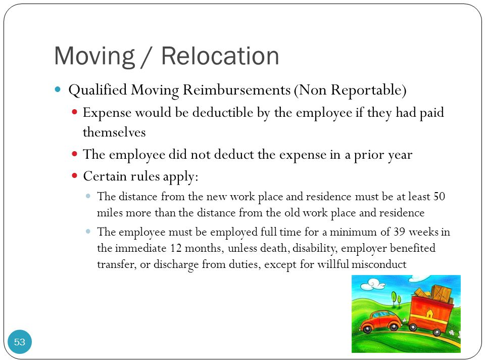 Moving / Relocation Qualified Moving Reimbursements (Non Reportable)
