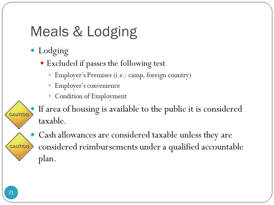 Meals & Lodging Lodging