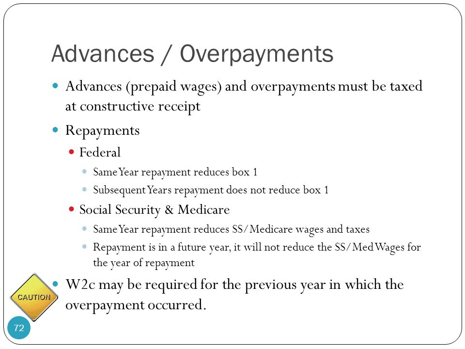 Advances / Overpayments