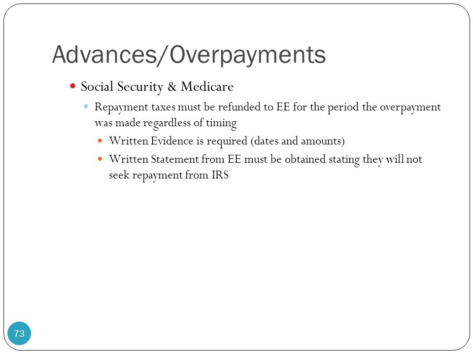 Advances/Overpayments