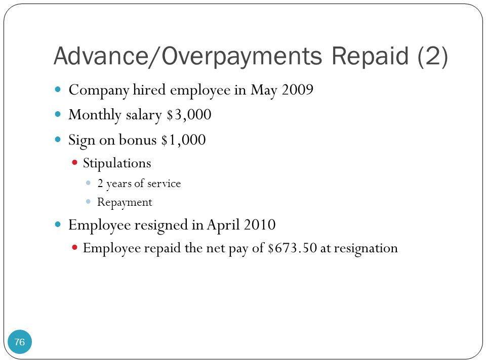 Advance/Overpayments Repaid (2)