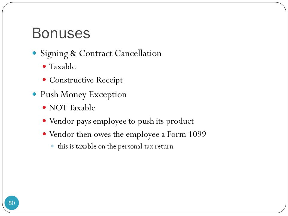 Bonuses Signing & Contract Cancellation Push Money Exception Taxable