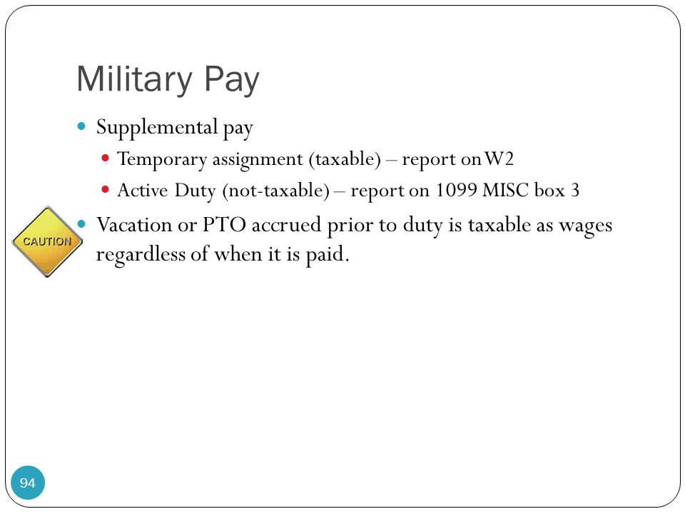 Military Pay Supplemental pay