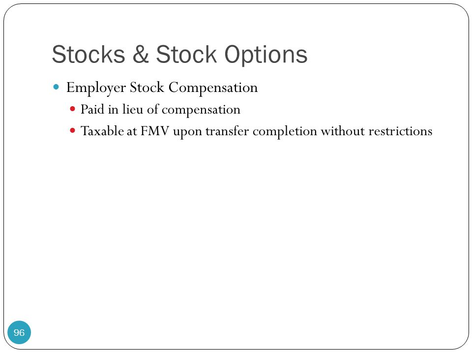 Stocks & Stock Options Employer Stock Compensation