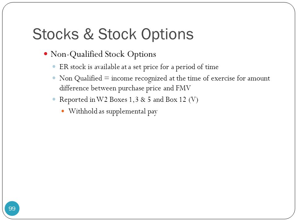 Stocks & Stock Options Non-Qualified Stock Options