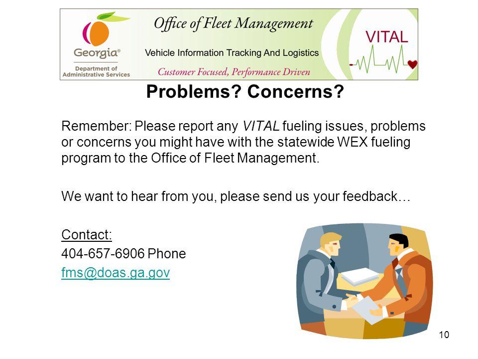 Problems Concerns