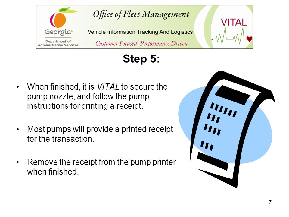 Step 5: When finished, it is VITAL to secure the pump nozzle, and follow the pump instructions for printing a receipt.