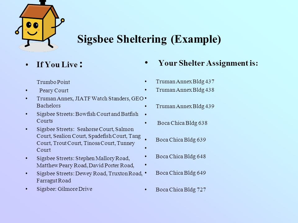 Sigsbee Sheltering (Example)
