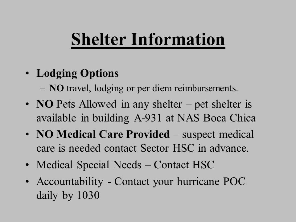 Shelter Information Lodging Options