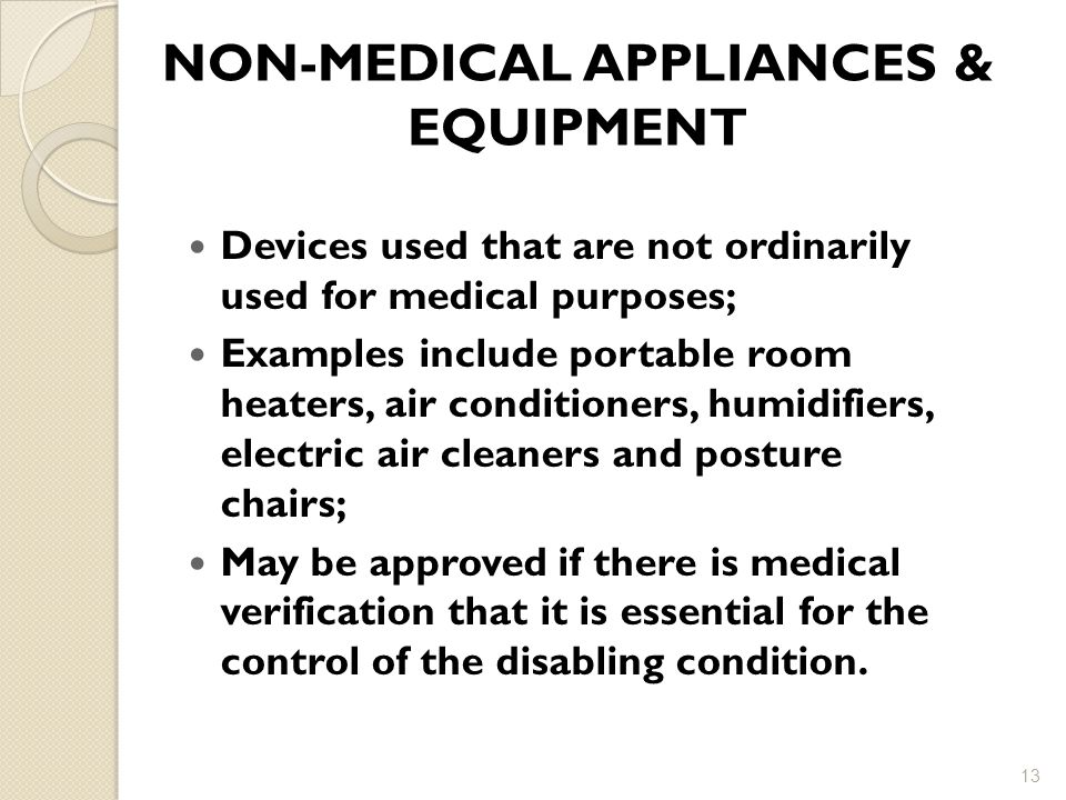 NON-MEDICAL APPLIANCES & EQUIPMENT