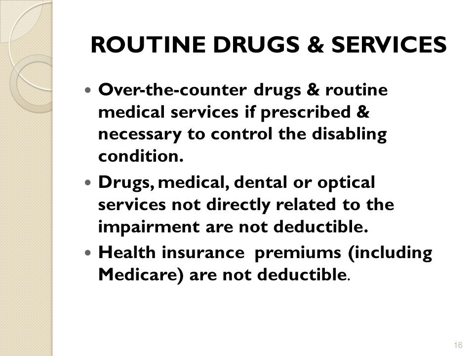 ROUTINE DRUGS & SERVICES