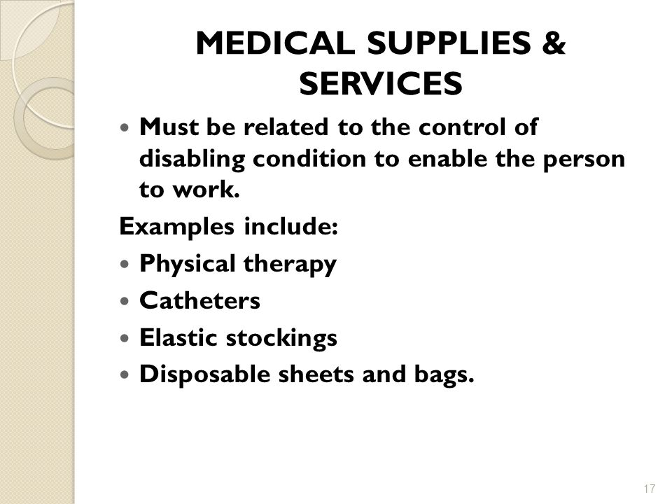 MEDICAL SUPPLIES & SERVICES