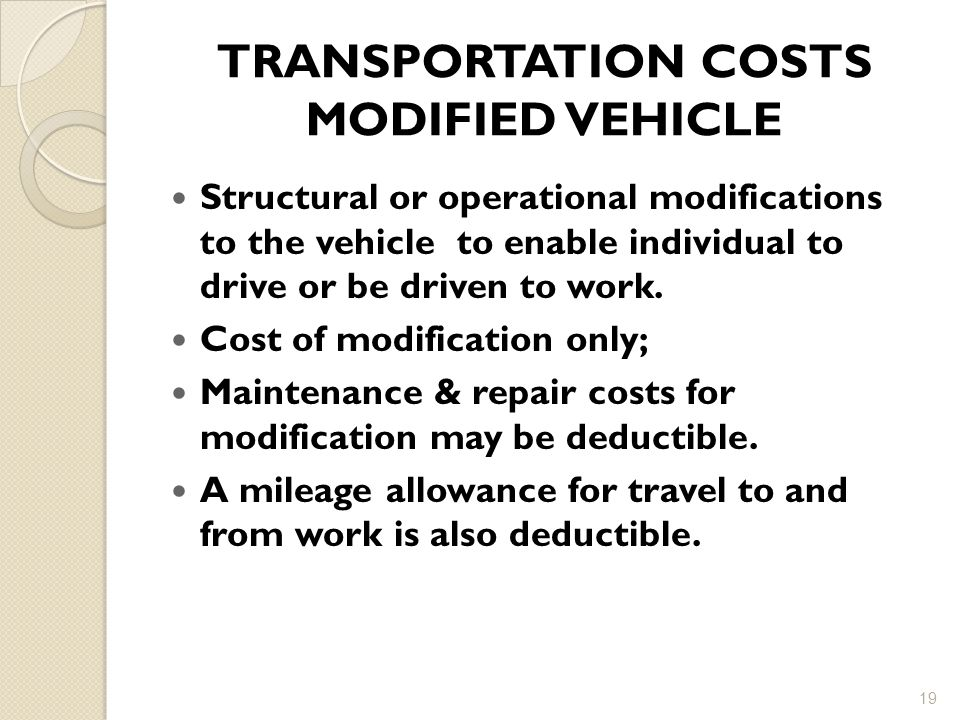 TRANSPORTATION COSTS MODIFIED VEHICLE