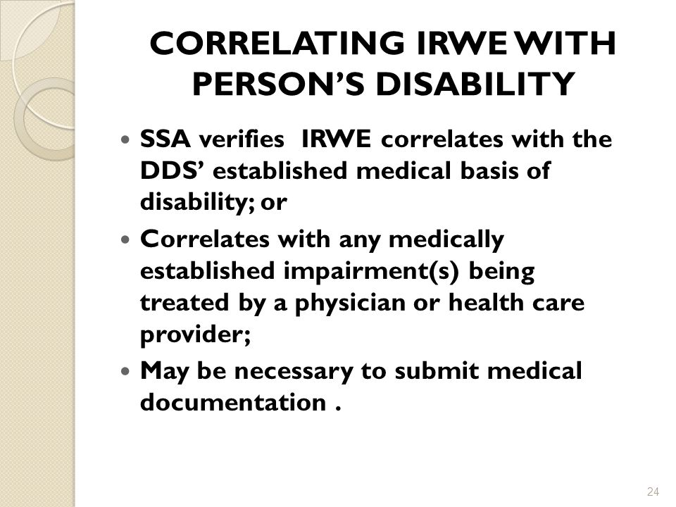 CORRELATING IRWE WITH PERSON'S DISABILITY