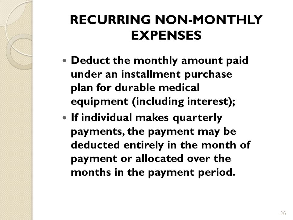 RECURRING NON-MONTHLY EXPENSES