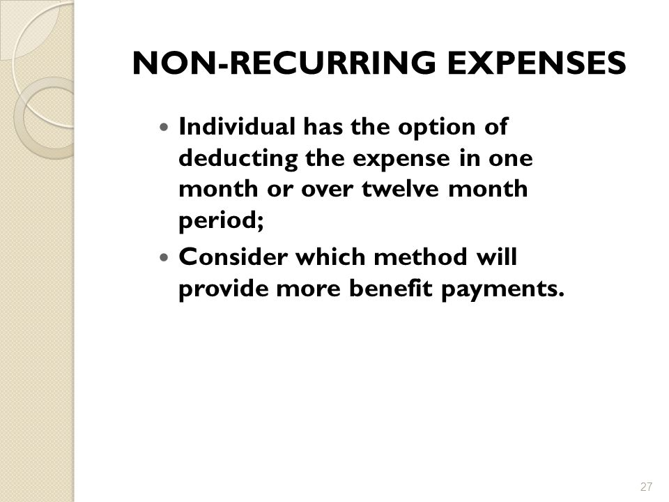 NON-RECURRING EXPENSES