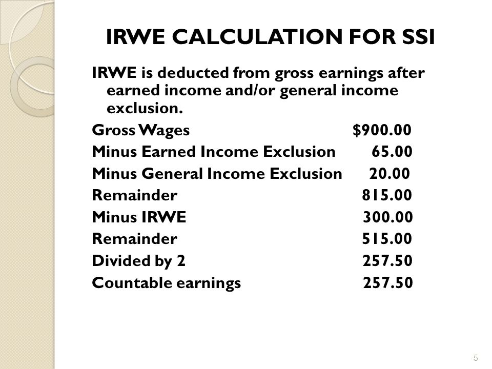 IRWE CALCULATION FOR SSI