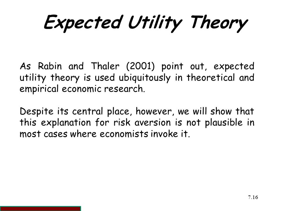 Expected Utility Theory