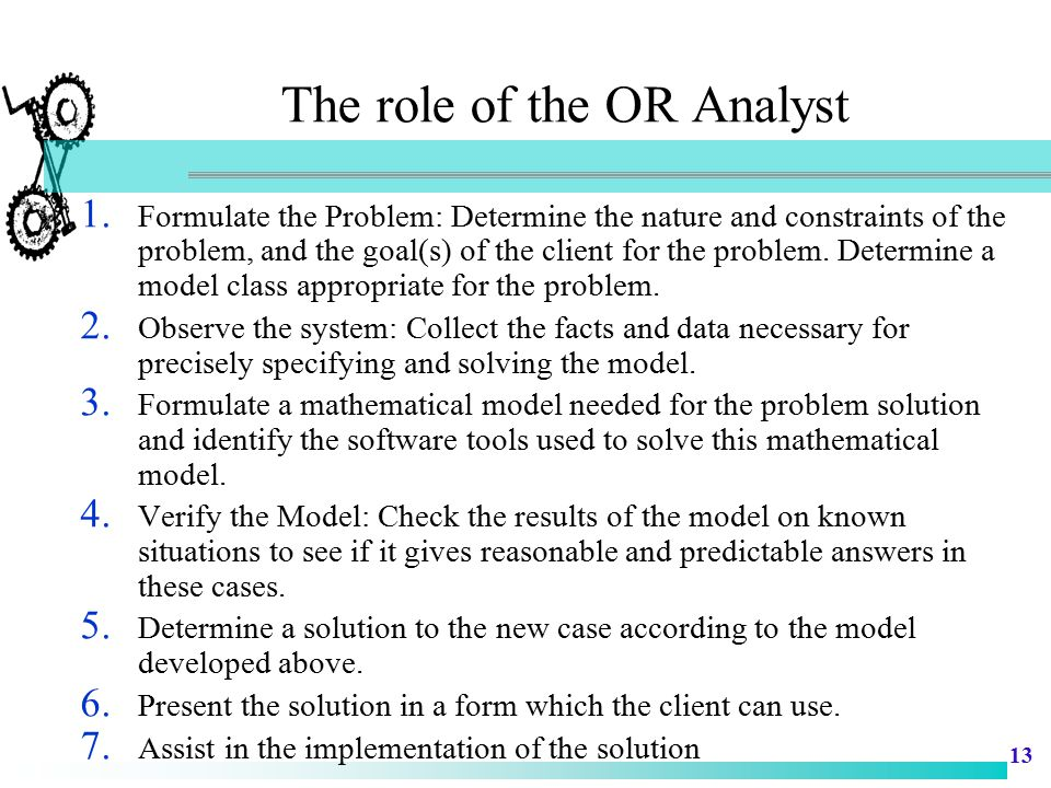The role of the OR Analyst