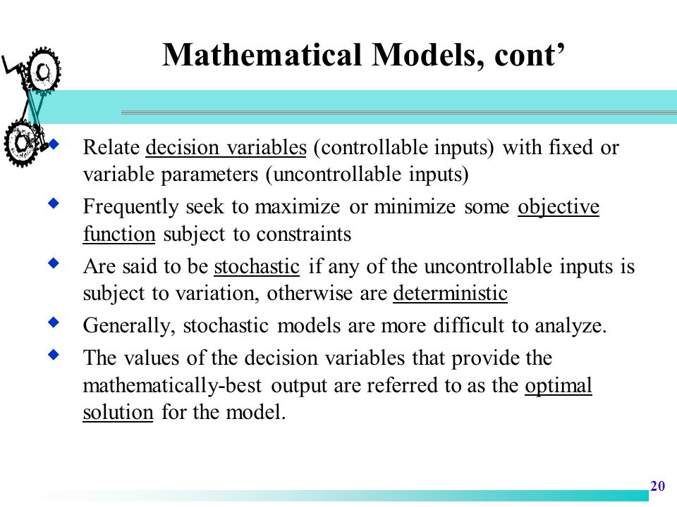 Mathematical Models, cont'