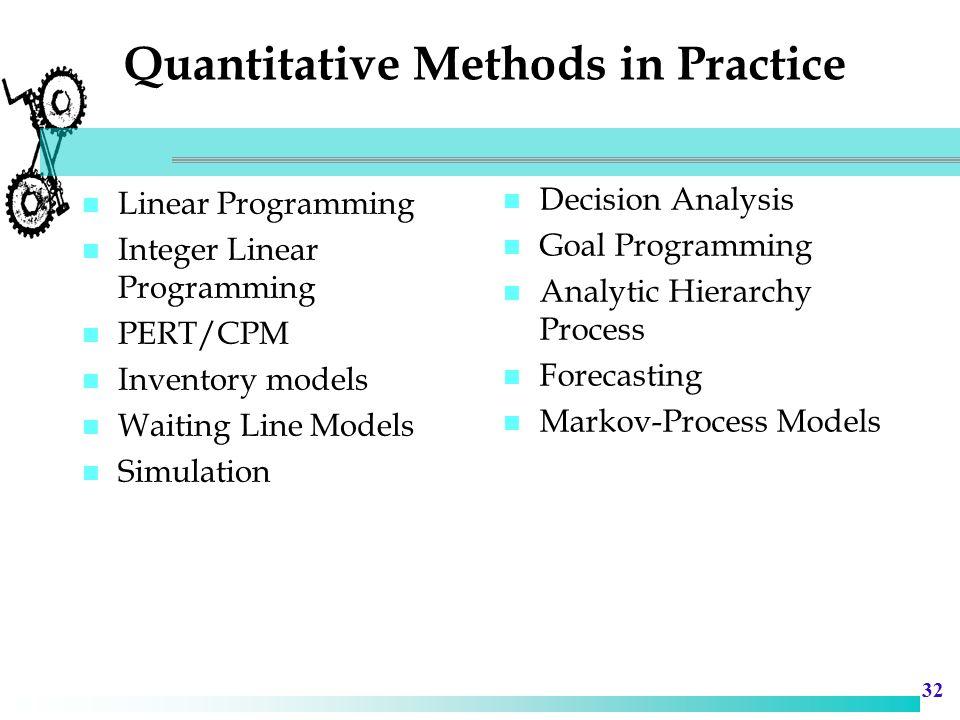 Quantitative Methods in Practice