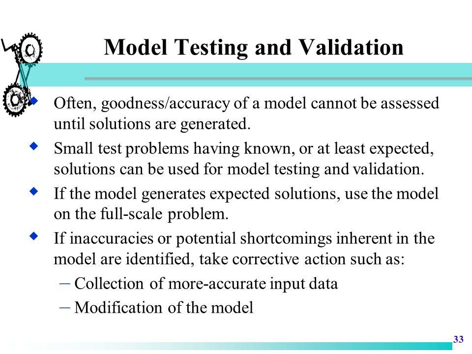 Model Testing and Validation