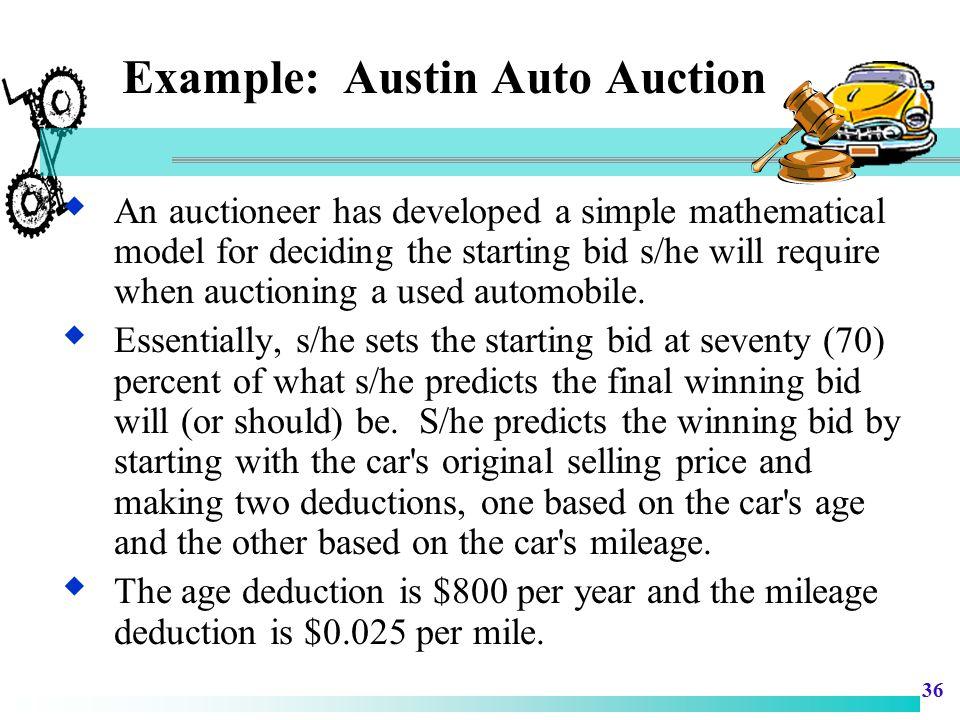 Example: Austin Auto Auction