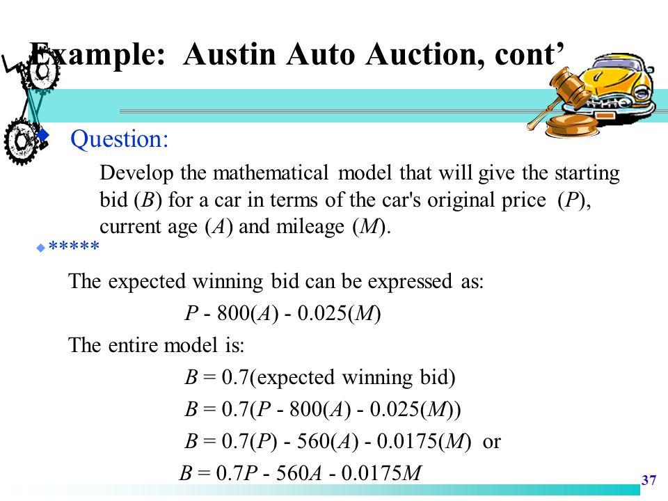 Example: Austin Auto Auction, cont'