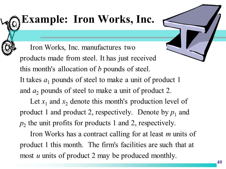 Example: Iron Works, Inc.