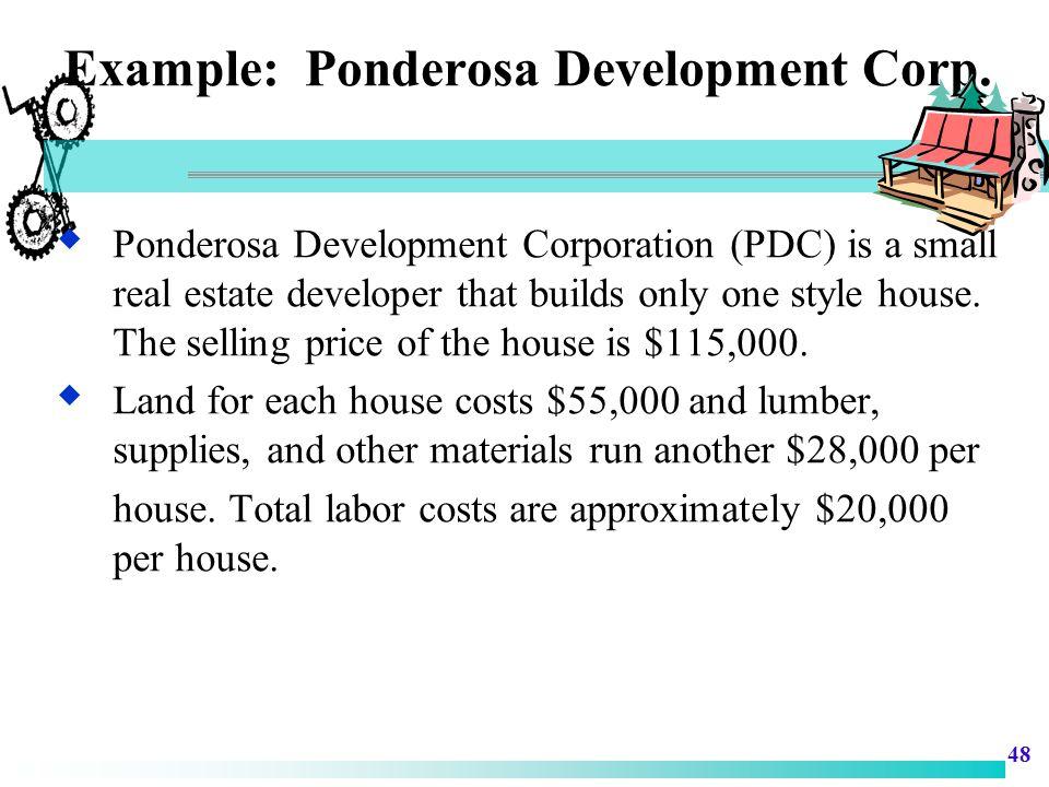 Example: Ponderosa Development Corp.