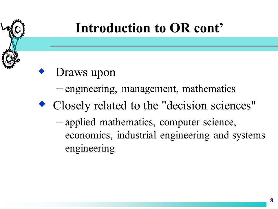 Introduction to OR cont'