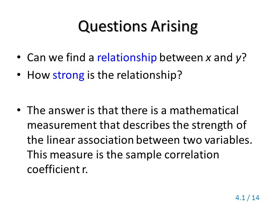 Questions Arising Can we find a relationship between x and y