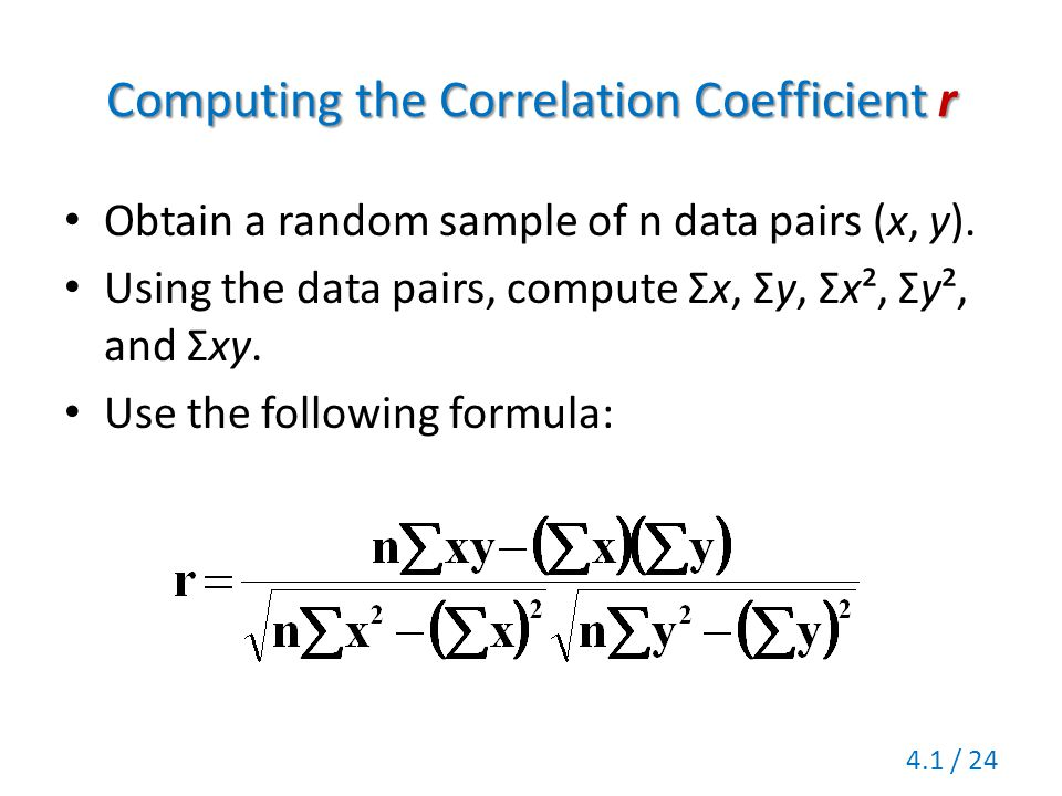Computing the Correlation Coefficient r