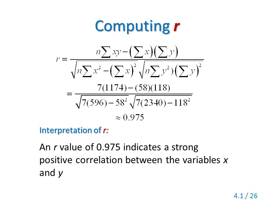 Computing r Interpretation of r: An r value of 0.975 indicates a strong positive correlation between the variables x and y.