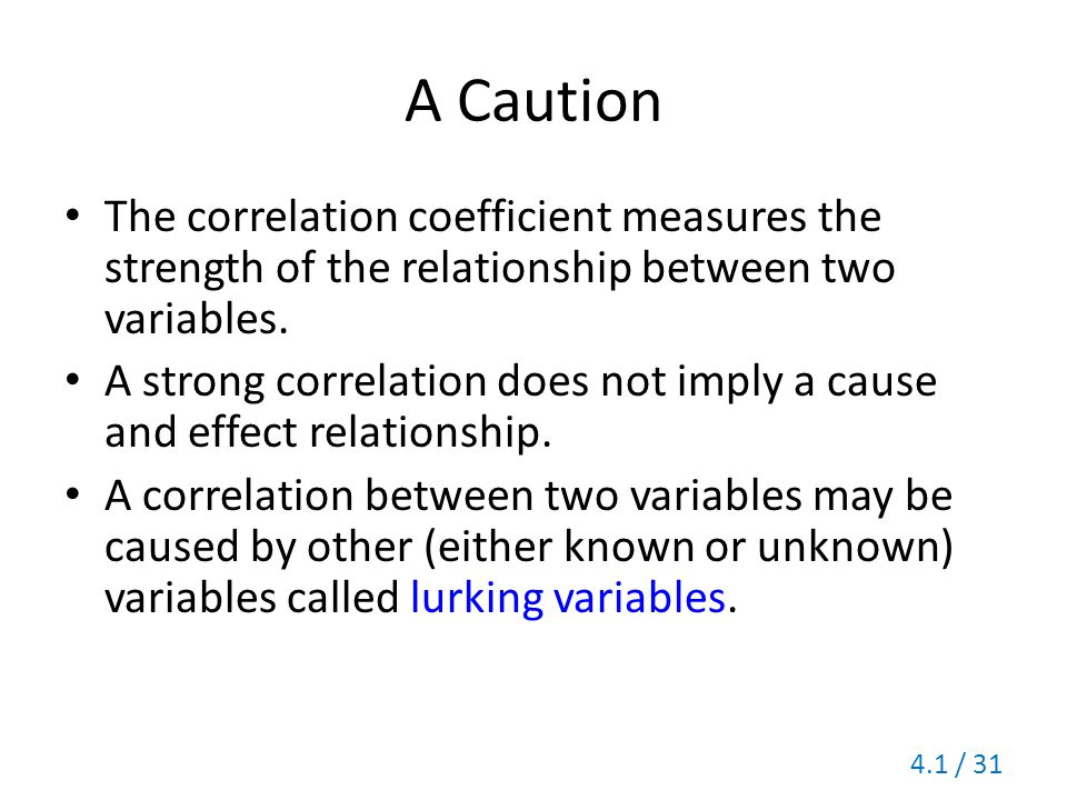 A Caution The correlation coefficient measures the strength of the relationship between two variables.