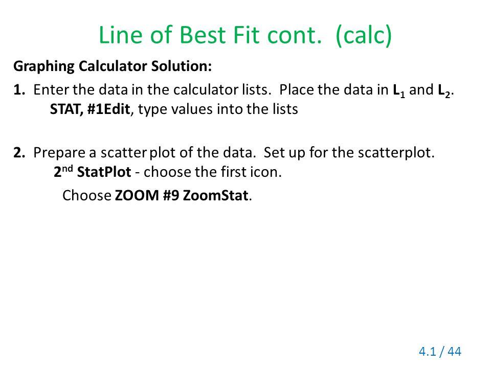 Line of Best Fit cont. (calc)