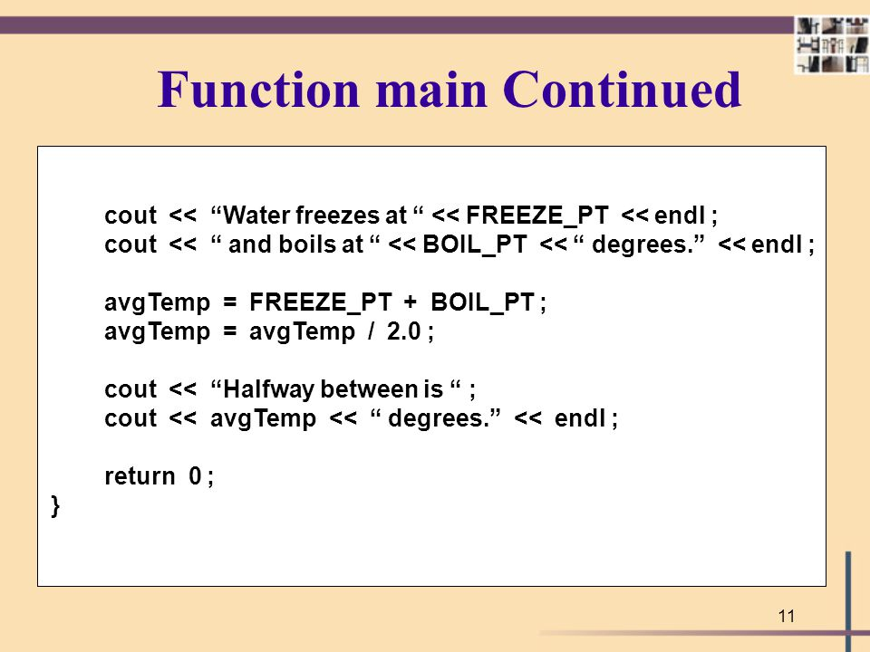 Function main Continued