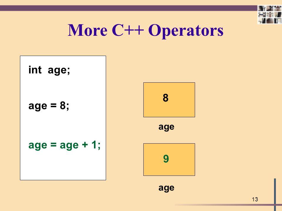 More C++ Operators int age; age = 8; age = age + 1; 8 age 9 age