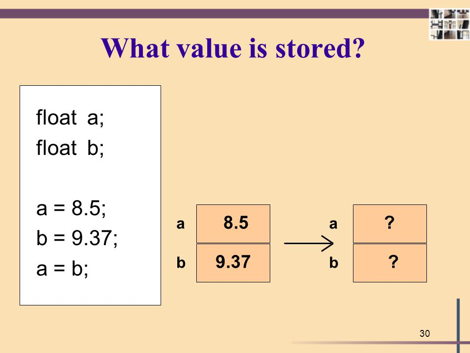 What value is stored float a; float b; a = 8.5; b = 9.37; a = b; 8.5