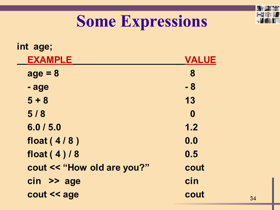 Some Expressions int age; EXAMPLE VALUE age = 8 8 - age - 8 5 + 8 13