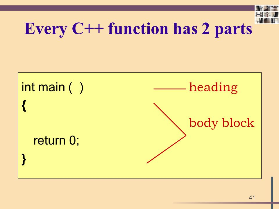 Every C++ function has 2 parts
