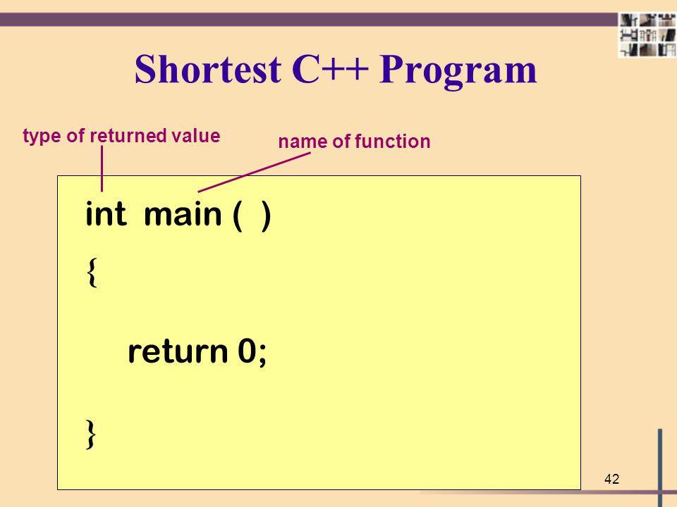 Shortest C++ Program int main ( ) { return 0; } type of returned value