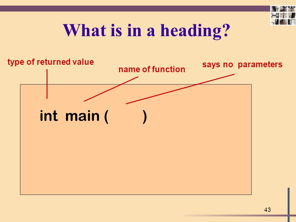 What is in a heading int main ( ) type of returned value