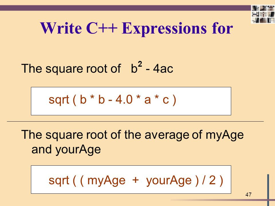 Write C++ Expressions for