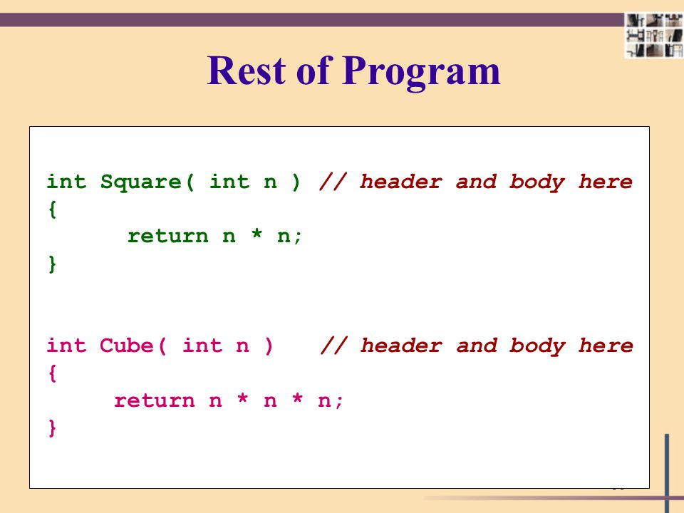 Rest of Program int Square( int n ) // header and body here {