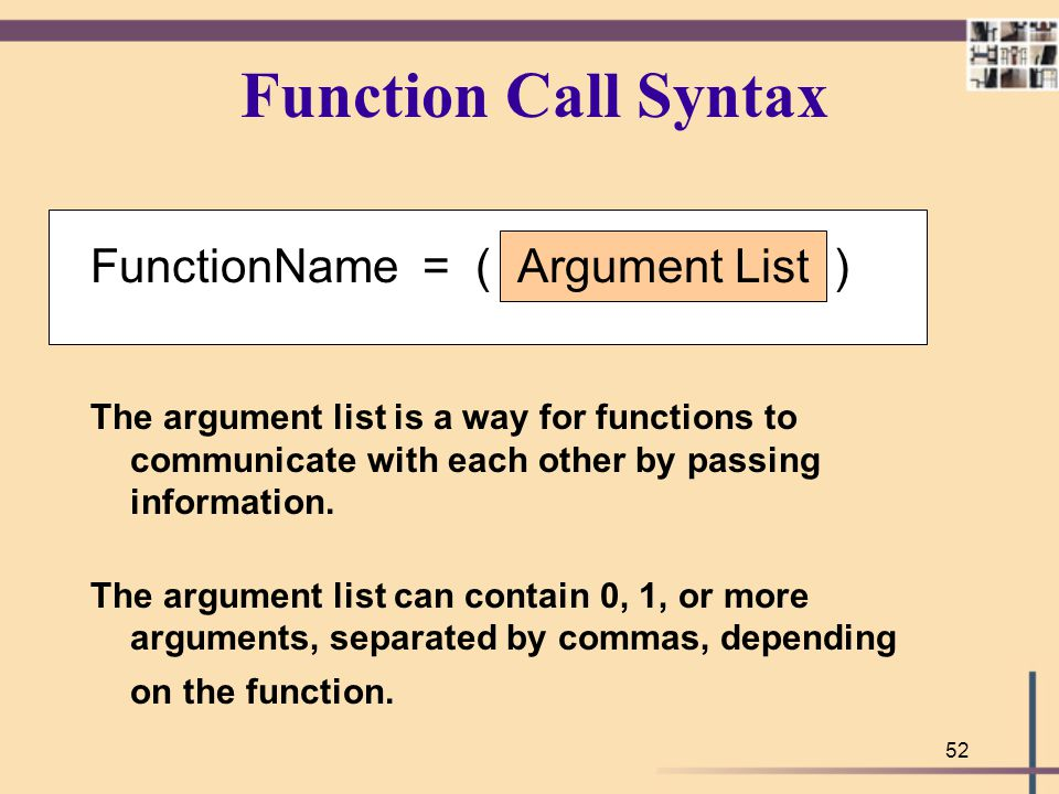 Function Call Syntax FunctionName = ( Argument List )