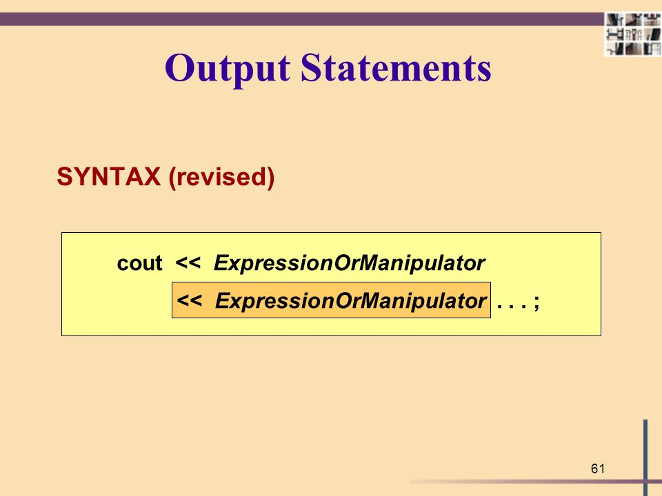 Output Statements SYNTAX (revised)