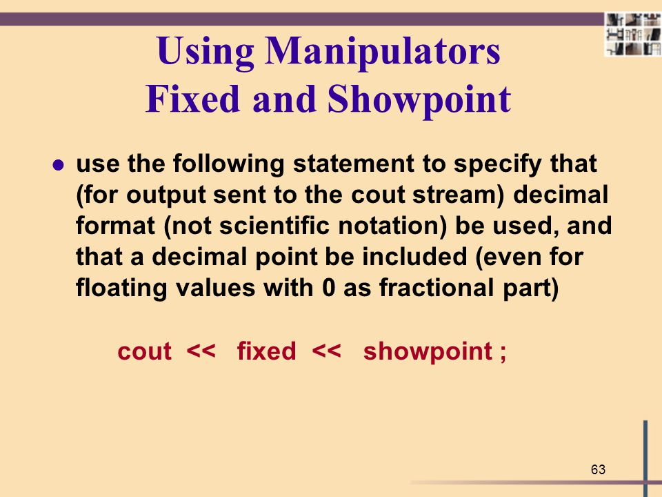 Using Manipulators Fixed and Showpoint