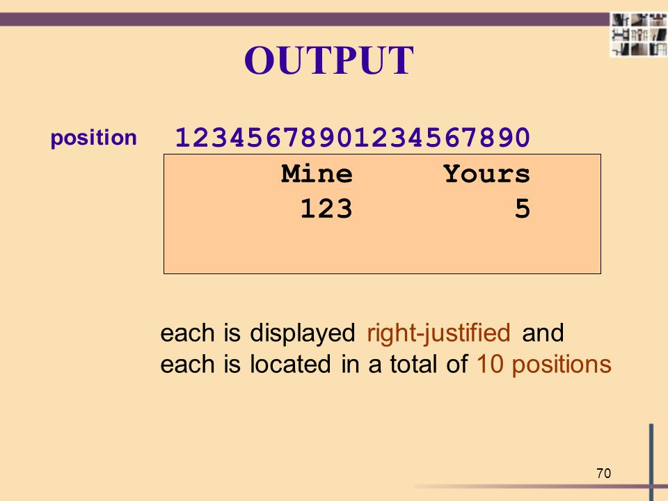 OUTPUT position. 12345678901234567890. Mine Yours. 123 5. each is displayed right-justified and.