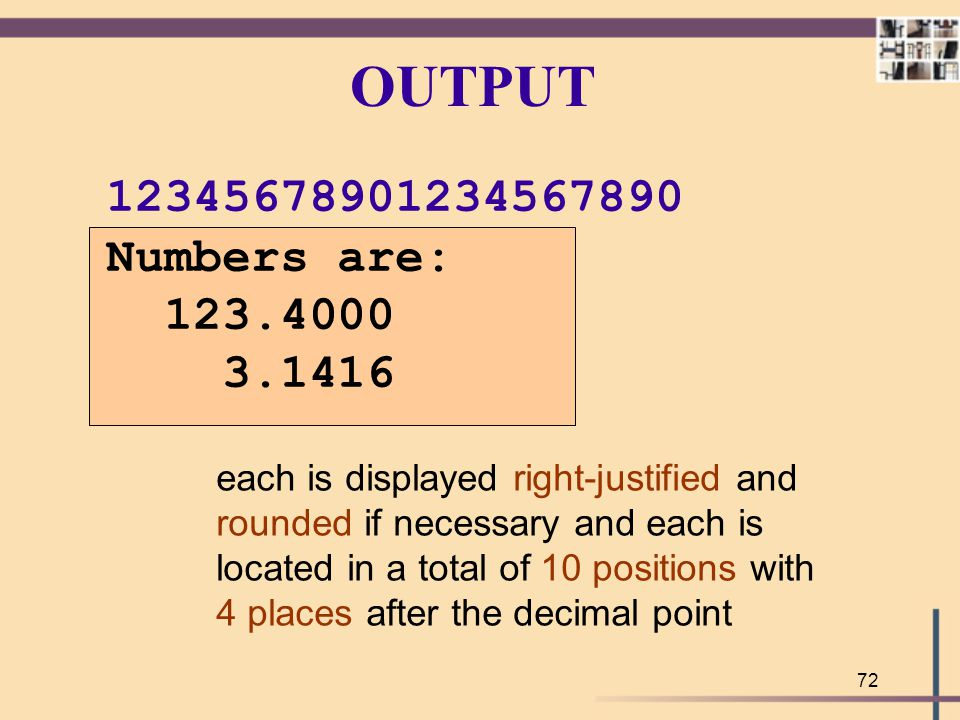 OUTPUT 12345678901234567890. Numbers are: 123.4000. 3.1416. each is displayed right-justified and.